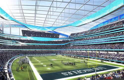 HKS have designed the Rams' Hollywood Park-based stadium, due to be complete in 2019 / HKS