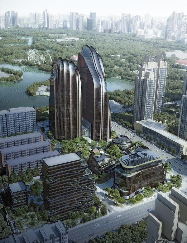 The two asymetrical towers form a focal point at the Chaoyang Park Plaza development