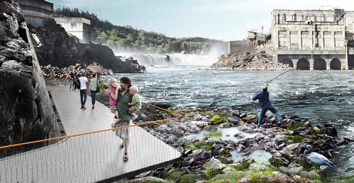 Snøhetta's walkway will emphasise the natural power of Willamette Falls / Snøhetta