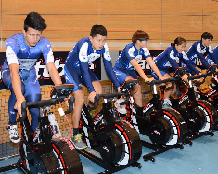 Riders at the UCI World Cycling Centre