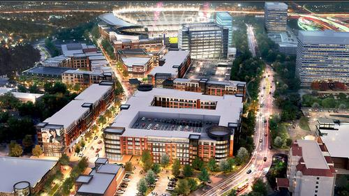 The new renderings shed light on the mixed-use element surrounding the stadium / Atlanta Braves