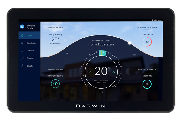 The Darwin Tablet controls air filtering, water purification and circadian lighting