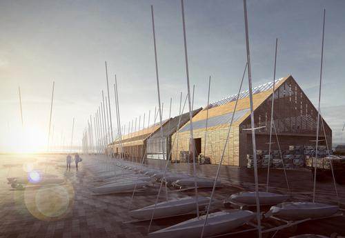 An artist's impression of the planned watersport and oyster hatchery centre, part of proposals for the Swansea Bay Tidal Lagoon project / FaulknerBrowns