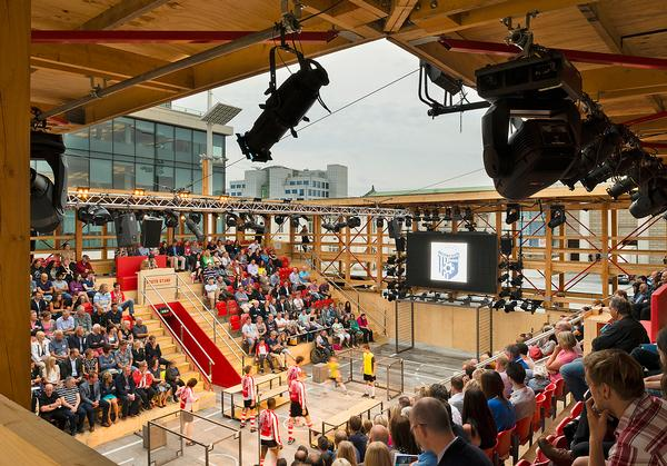 Assemble built a pop up theatre in Southhampton, UK, inspired by the city's passion for football