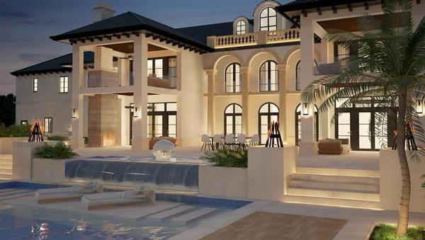 The house also includes outdoor pools