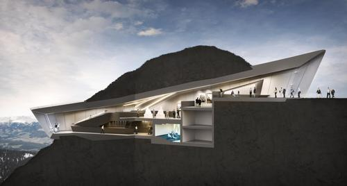 The interior of the museum is located underground the entrance and a viewing platform only visible from the outside / Zaha Hadid Architects