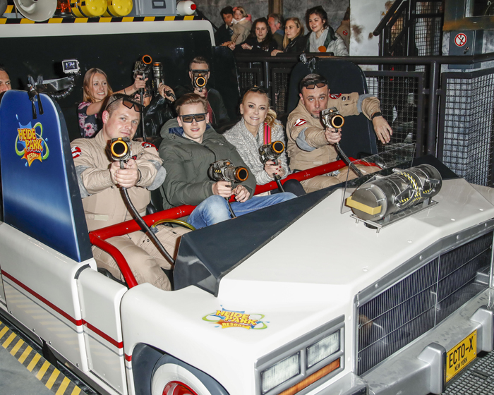 Riders become Ghostbusters and score points by fighting slime ghosts in new ride