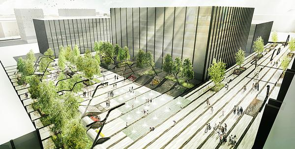 The mixed use Vilnius Plaza development will include a new public plaza