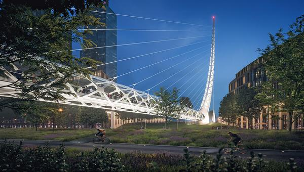 The Calatrava-designed bridge will link Peninsula Place to a new public park on the River Thames