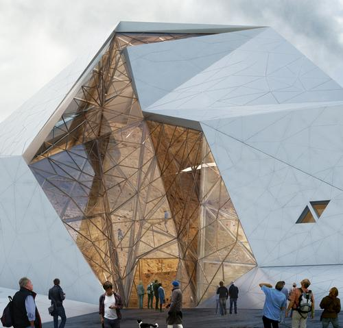 The fragmented design resembles a giant rock