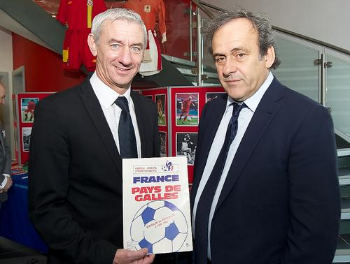 Former Welsh football player Ian Rush and UEFA chief Michel Platini at the official opening