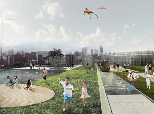 """Columbia's Articulated Site project created urban spaces around a series of water tanks to form a """"socio-technical"""" landscape / Holcim Awards"""