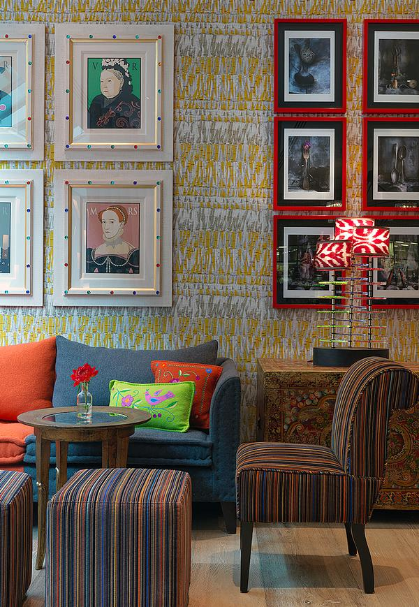 The interior design is fun and eclectic, with bold patterns and prints.
