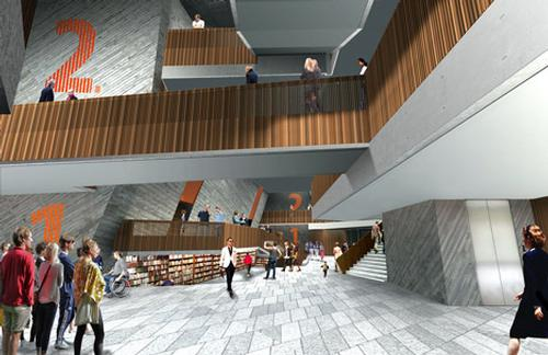 Visitors enter through a triple height lobby