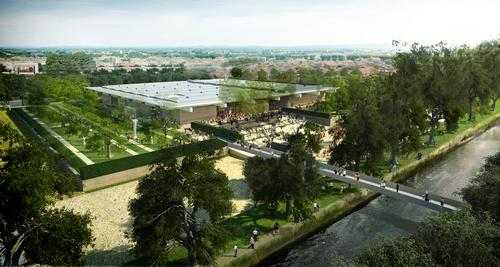 The 8,700sq m (93,600sq ft) museum complex will also feature a public plaza adjacent to the city's Canal du Midi / Foster + Partners
