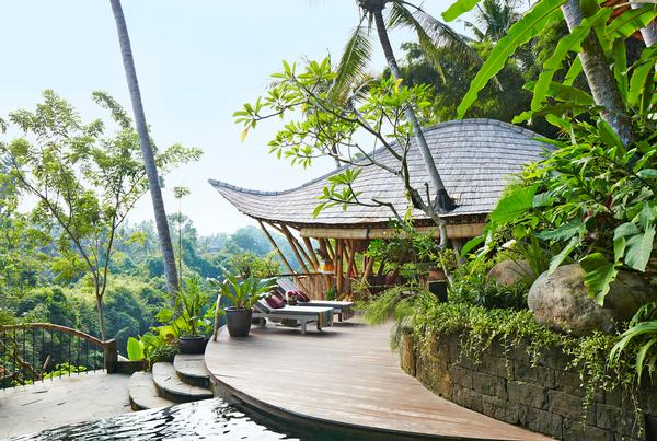 Ananda House at the Green Village is high up on the site, overlooking the river