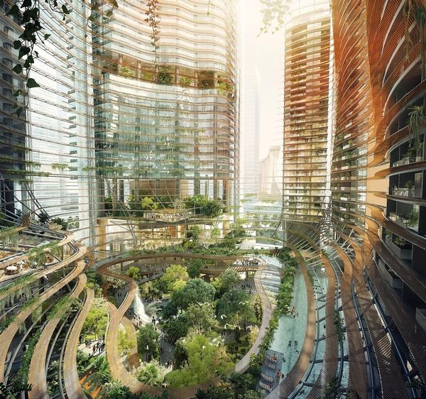 Marina One features an elevated public garden stretching between its towers, with lush vegetation, waterfalls and pools