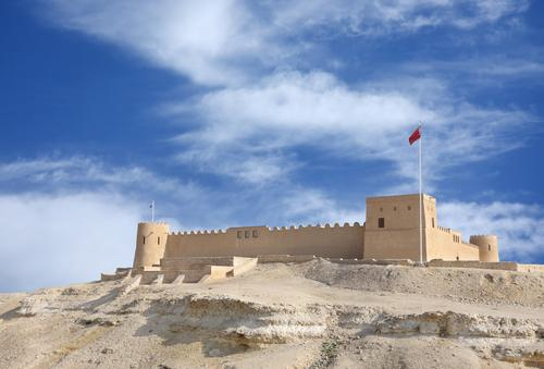 Riffa Fort, seen from the direction of Hunanaiya Valley. The valley is the proposed site of a new theme park in Riffa, Bahrain