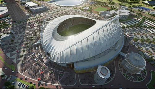 Rendering of the Khalifa International Stadium redevelopment  / Dar Al-Handasah