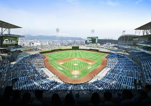 The stadium is said to be the first in South Korea to have 360-degree open views of the field / Populous