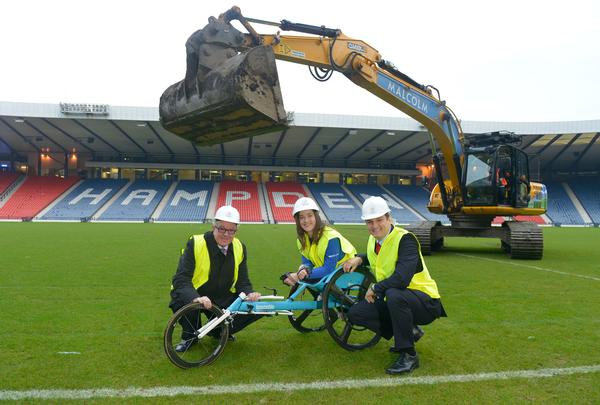 The heavy machinery moved into the  stadium in November to start work