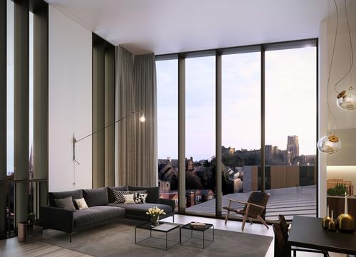 The scheme's residential apartments will offer views of Durham's UNESCO-recognised castle / FaulknerBrowns