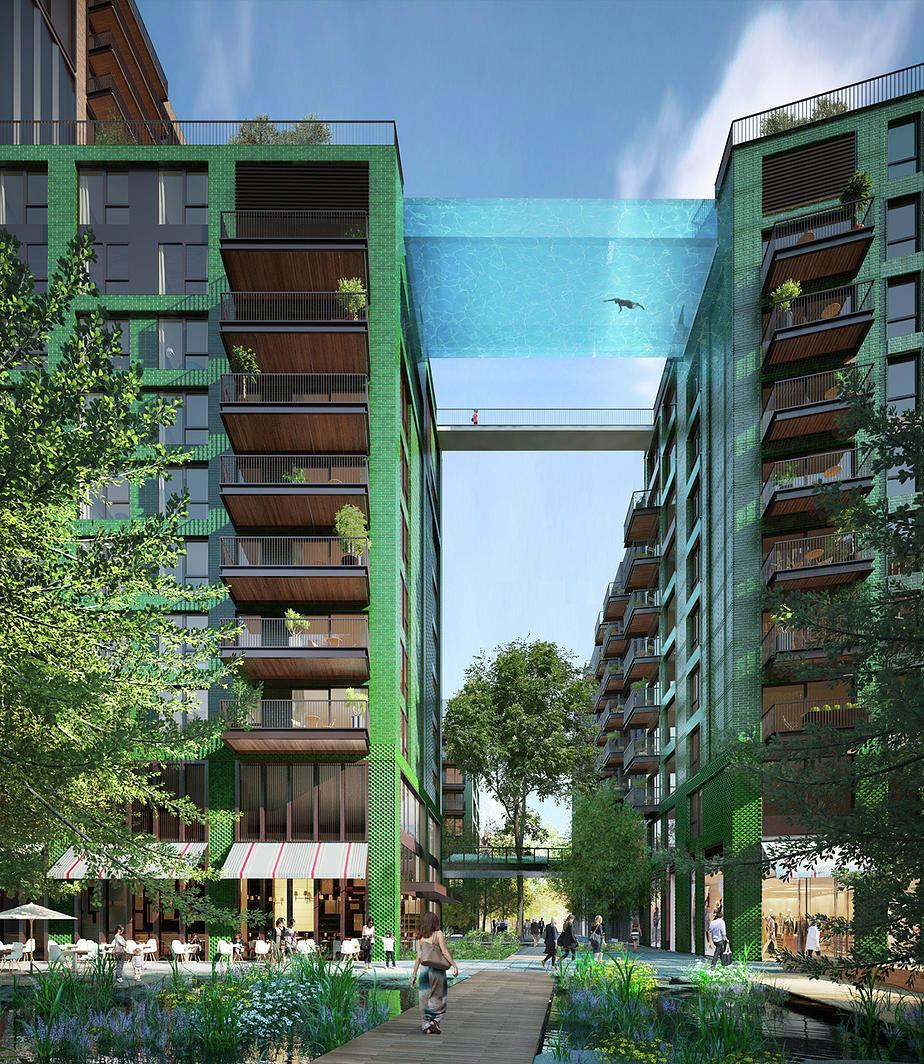 The sky pool will connect the rooftops of two 10-storey apartment buildings / Arup