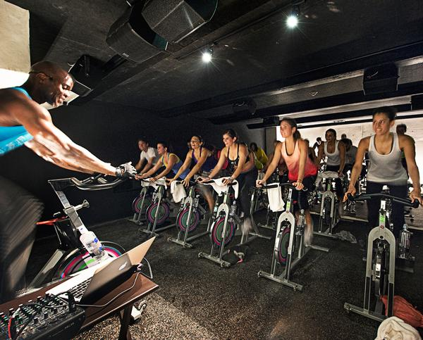 The two main cycling studios are located under the staircase