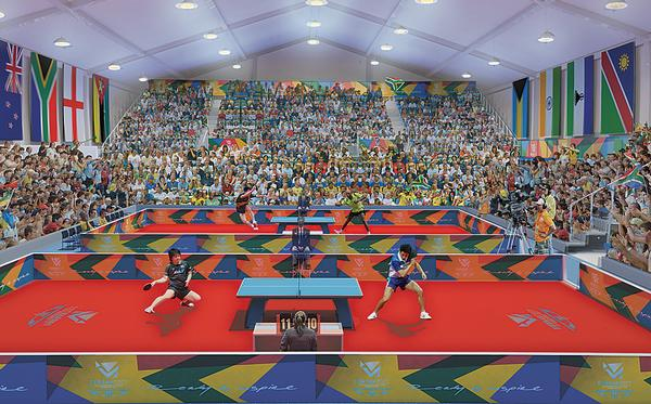 A render of the table tennis facilities for the 2022 Commonwealth Games, Durban