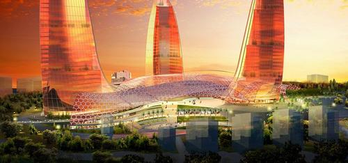 At a height of 190 m (620 ft), Flame Towers is Azerbaijan's tallest building complex