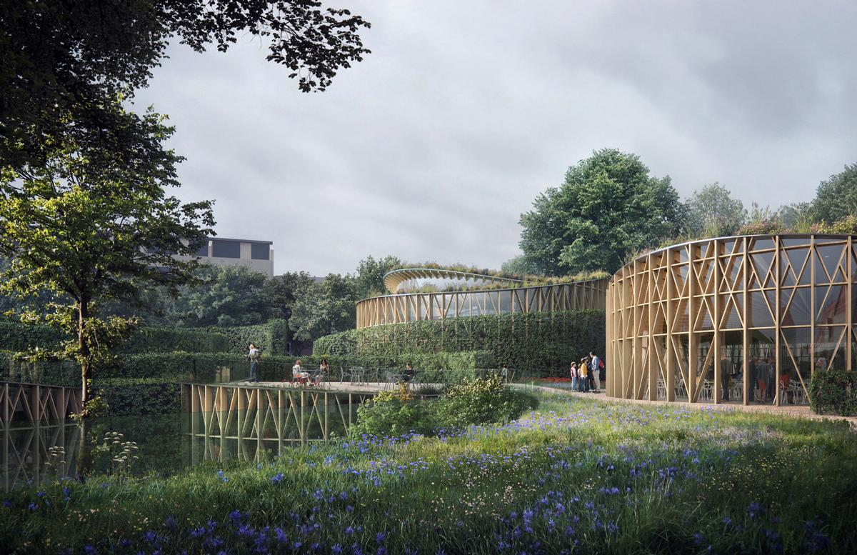 The museum extensions will be grass-topped structures with timber lattices forming the facade / Kengo Kuma & Associates
