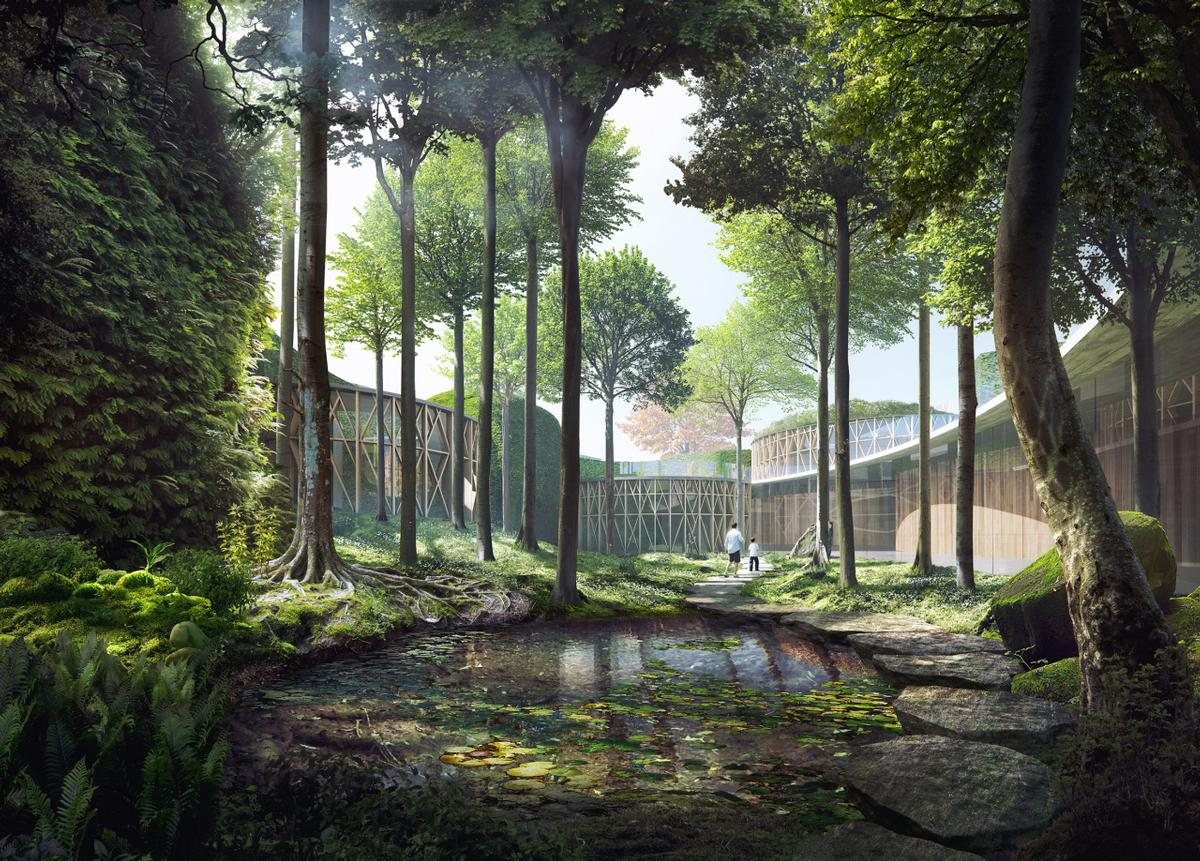 Trees and gardens will surround the museum's volumes / Kengo Kuma & Associates