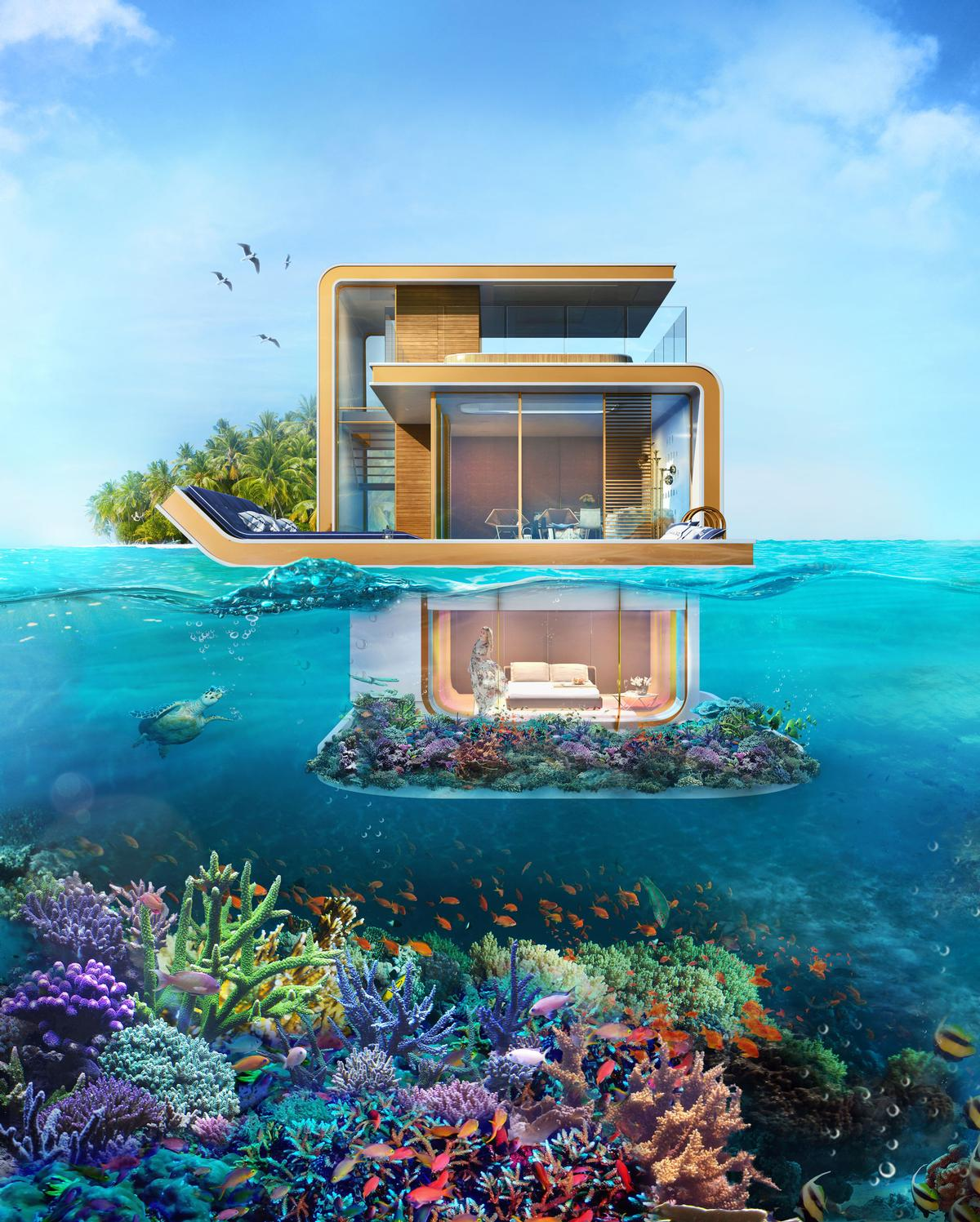 An artificial coral reef will be created below each villa to create spectacular views and protect real-life seahorses in the Arabian Gulf / Kleindienst Group