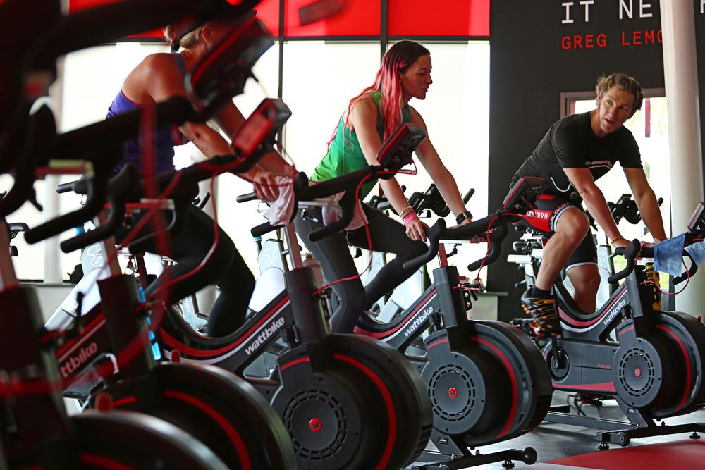 Wattbike zones stand out on the gym floor and offer users a more immersive experience
