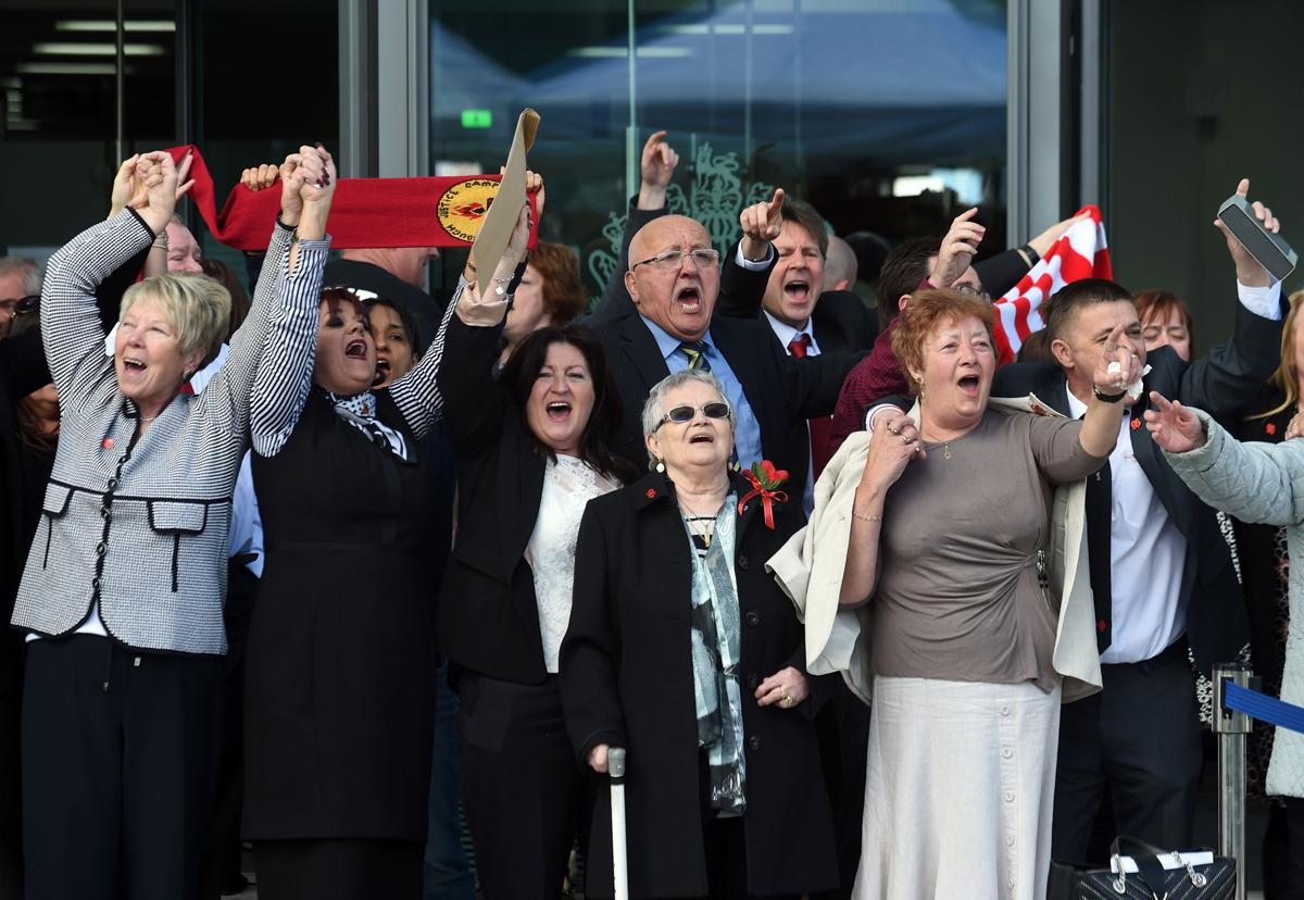The families of those who were killed celebrate the conclusions of the jury after a 27-year wait for justice / Joe Giddens/Press Association