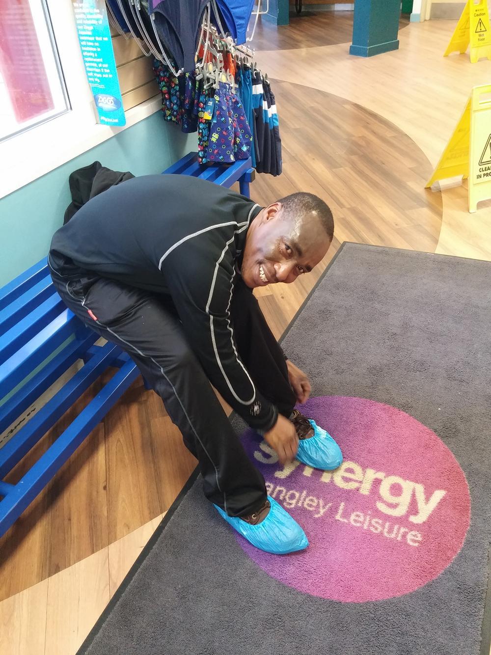 Overshoe protectors help keep changing rooms clean