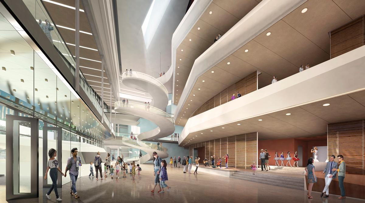 The public lobby will be used throughout the day and will function as a flexible performance space / Diamond Scmitt