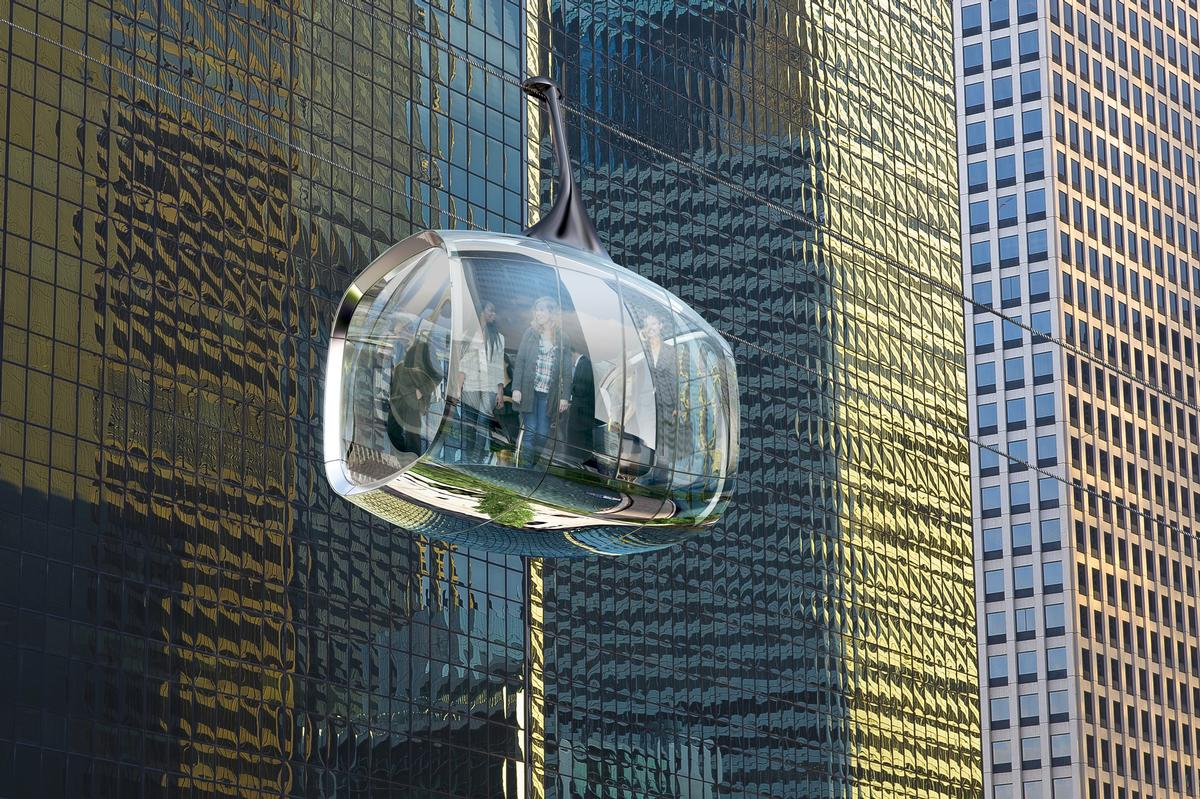The cable car's pods are designed to be lightweight and elegant, like the jewels on a necklace / F10 Studios