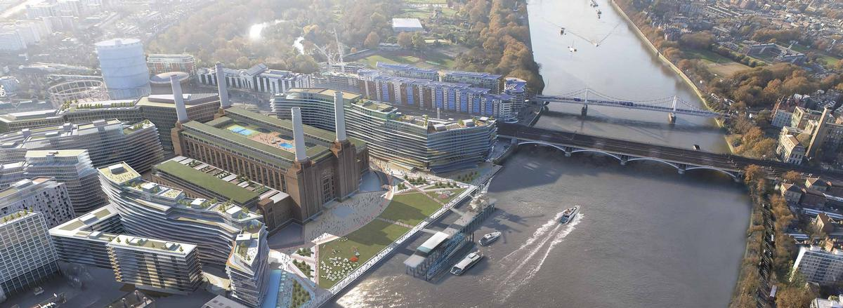 Circus West, located in between the chimneys and Chelsea Bridge, is due to be completed in October 2016 / Battersea Power Station Development Company