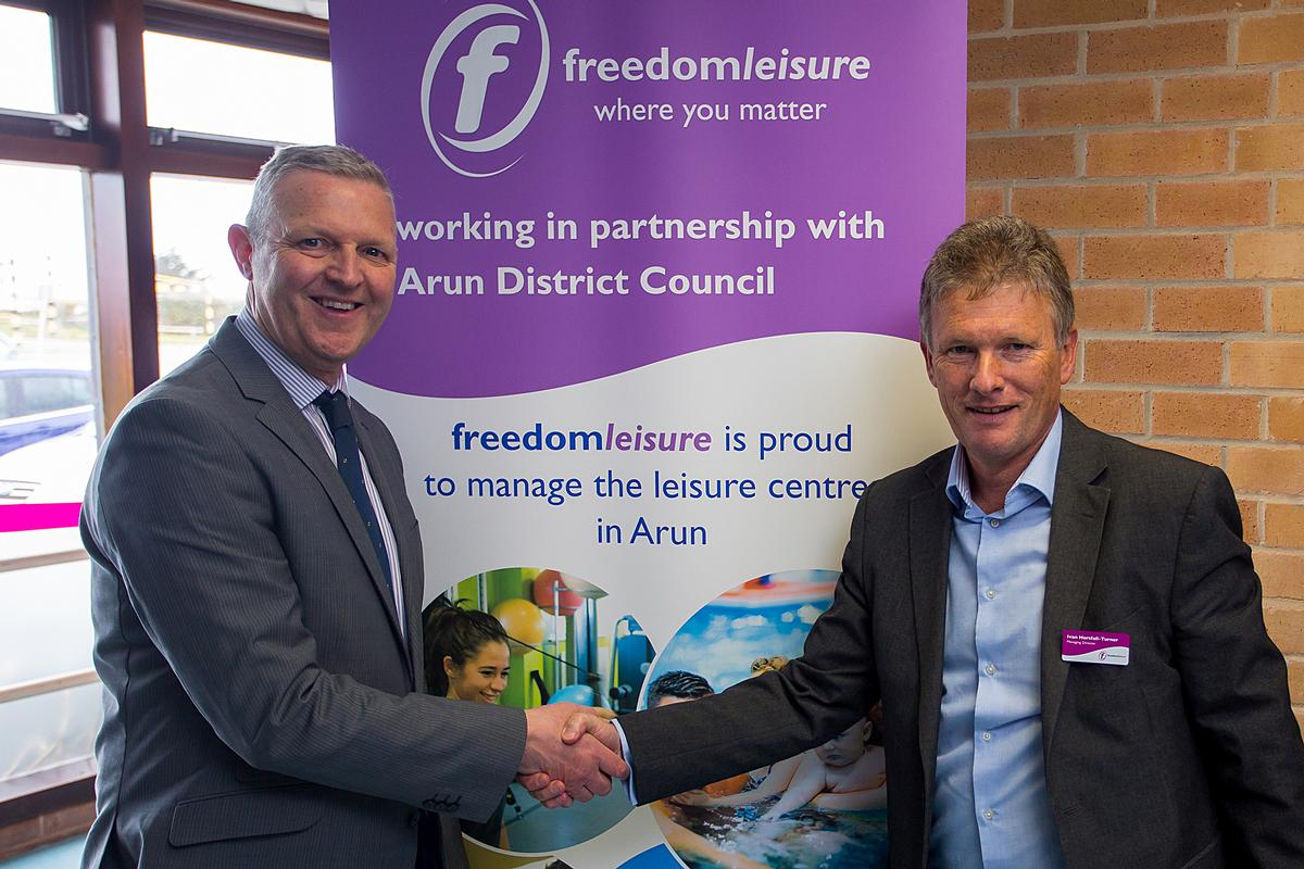 Nigel Lynn, CEO at Arun District Council (left) with Ivan Horsfall Turner, Freedom Leisure MD