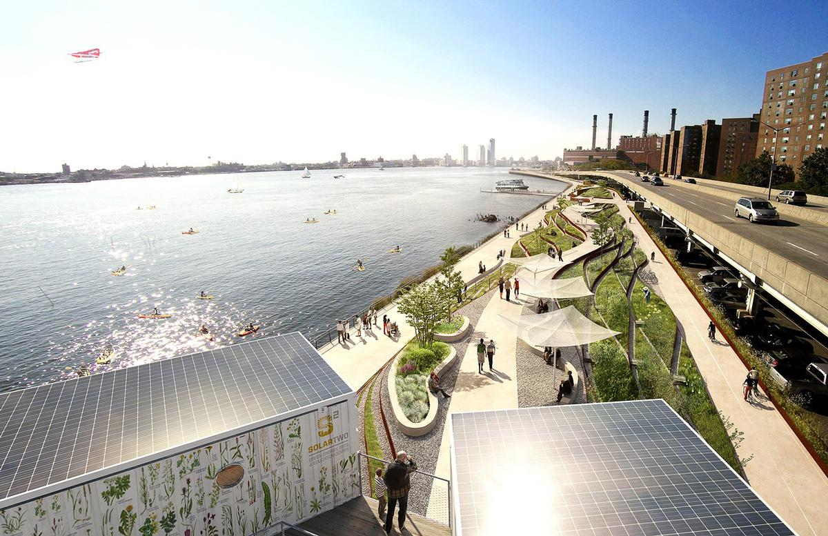 Elevated embankments, pop-up sea walls deployed during storms and salt-resistant vegetation will all be used to make the area more resilient to future flood events / BIG/the City of New York