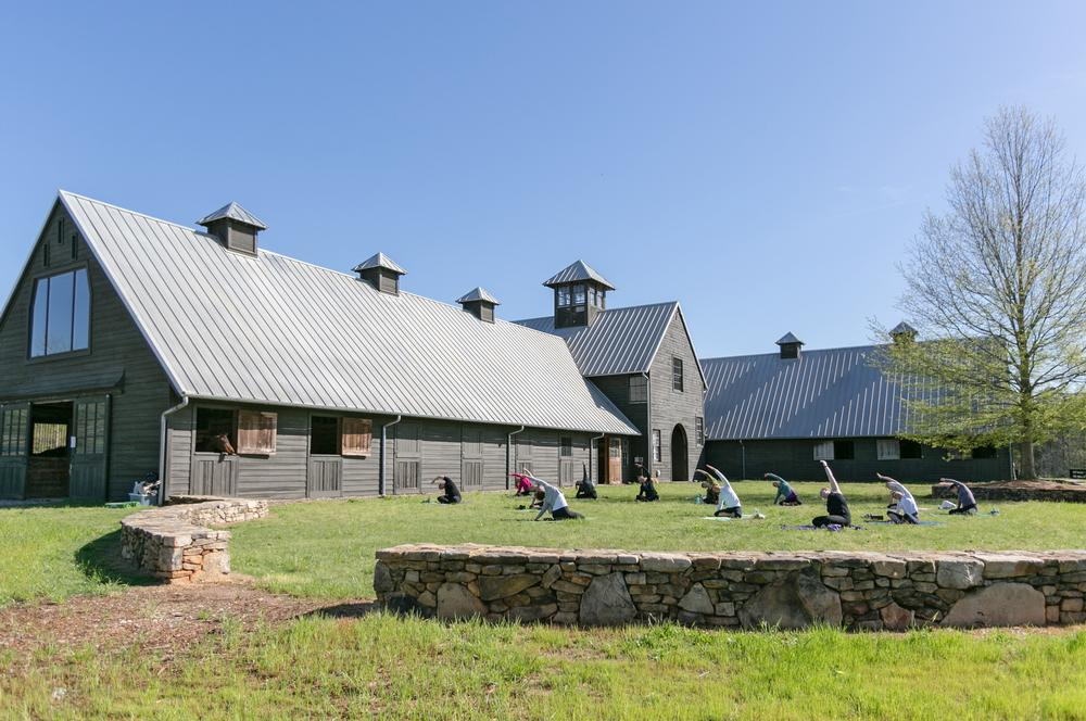 Yoga at the stables: exercise and outdoor living are at the heart of the Serenbe philosophy