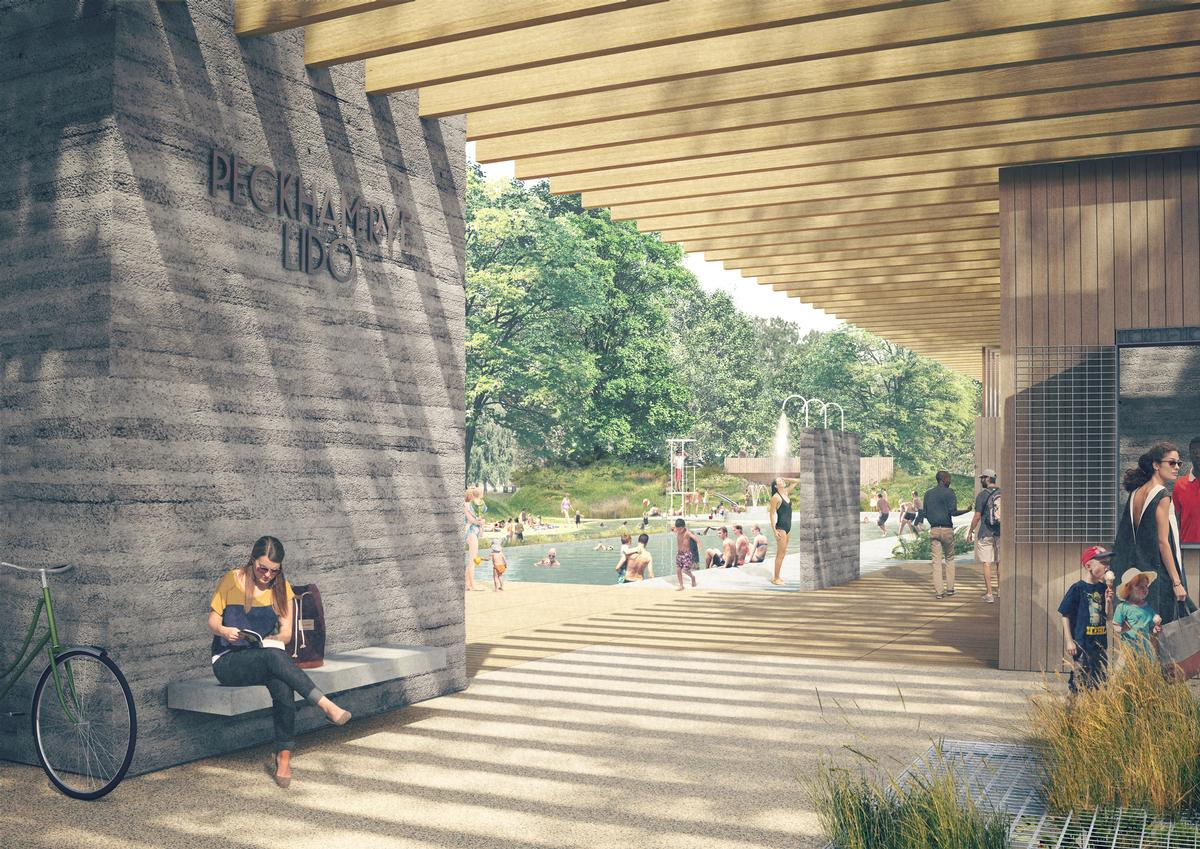 The new Peckham Lido will be a 'modern mecca for sunbathing, health and wellbeing to attract all walks of life' / Peckham in South-East London