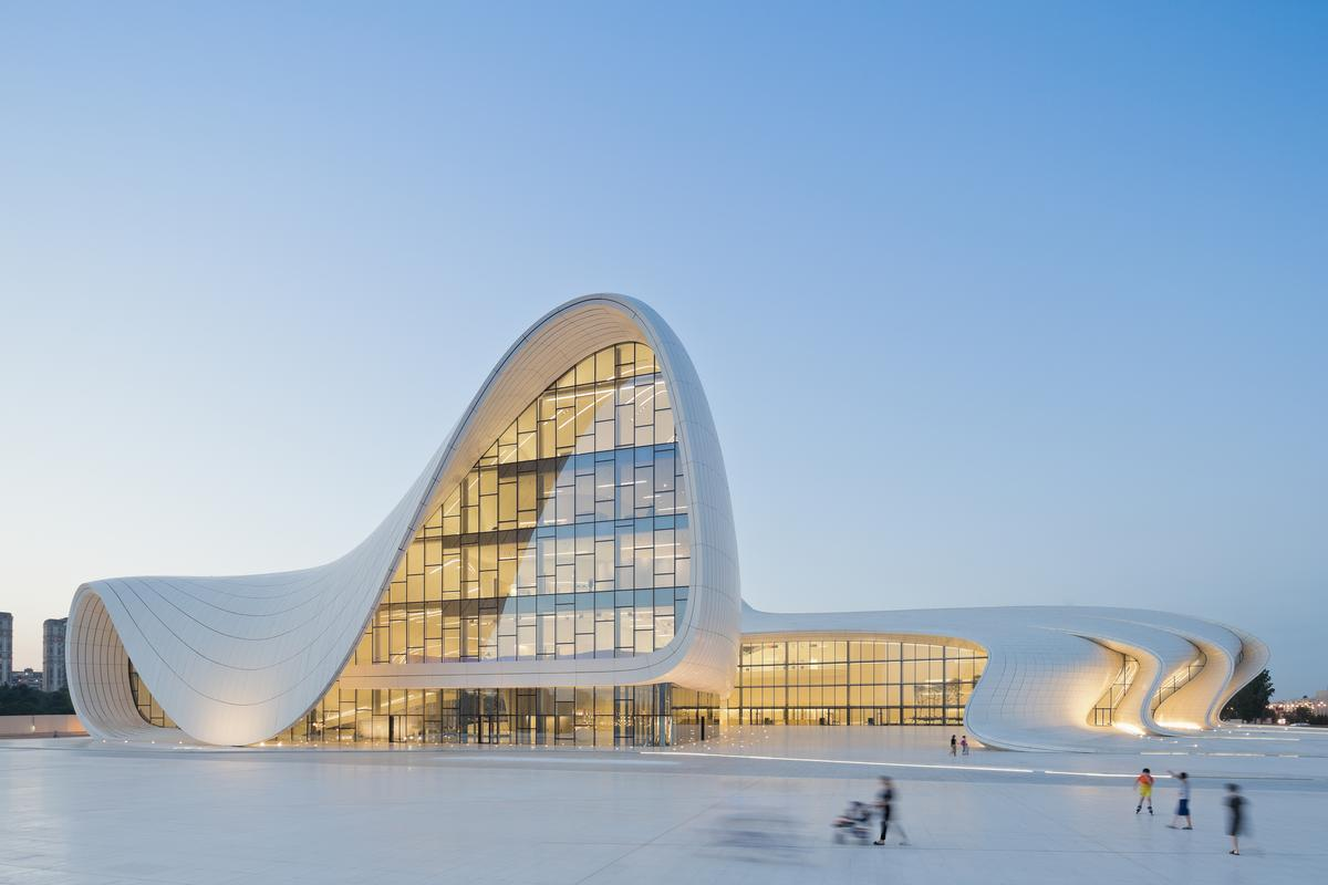 Zaha Hadid's Heydar Aliyev Centre in Baku, Azerbaijan is among the leisure buildings nominated for the RIBA International Prize / Iwan Baan