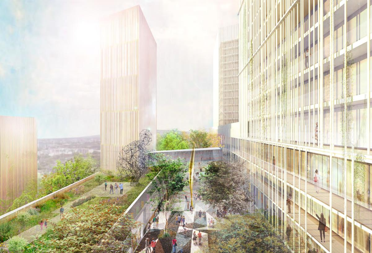 MORQ's proposal, Ryde392, is centred around a series of mixed-use green-roofed towers centred around a main plaza / MORQ