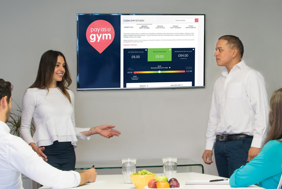 (L-R) PayAsUGym strategic account manager Samantha Porter and head of sales Akshay Loomba presenting the new portal / PayAsUGym