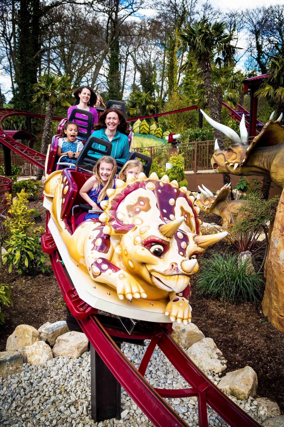 Younger visitors can board the 23kmh Dino-Chase rollercoaster