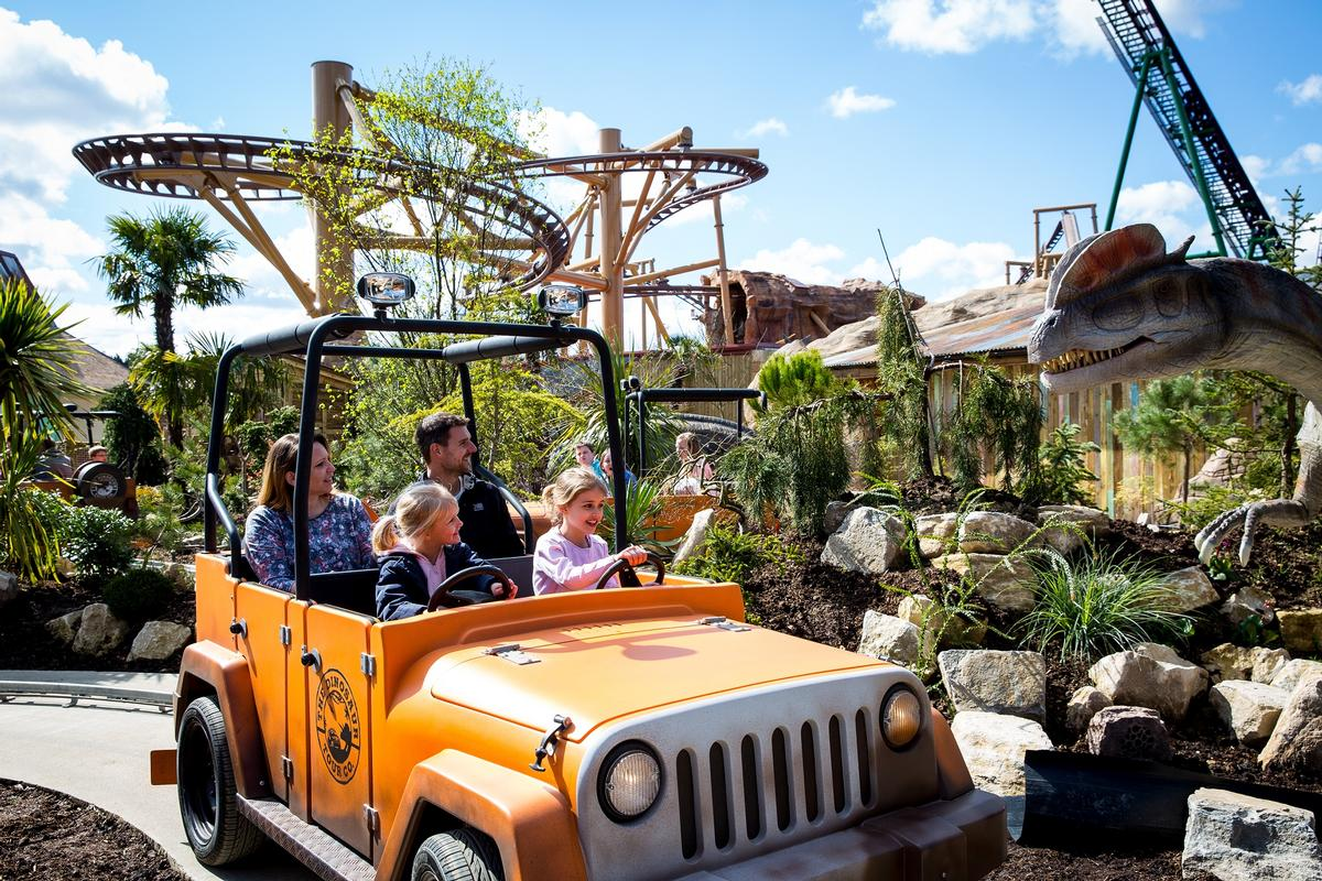 "Board the 4x4 Jurassic Jeep Dinosaur Tour for a ""safari expedition"""