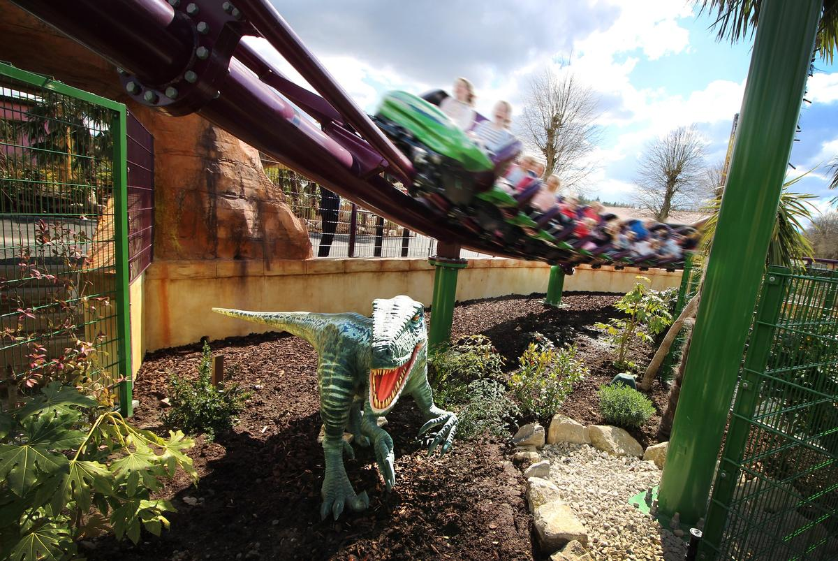 The Velociraptor boomerang coaster was designed by Vekoma