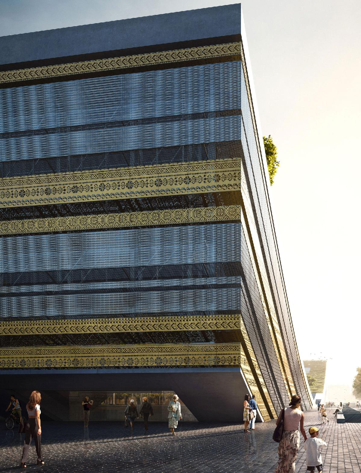 The pattern on the facade references the artefacts housed within the museum / Museum of Ethnography/Axion Visual
